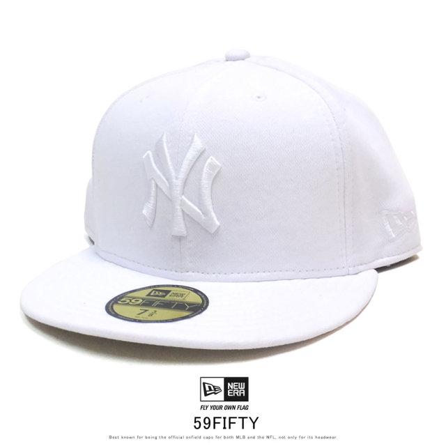 NEW ERA ニューエラ フラットバイザーキャップ 59FIFTY スウェット ニューヨーク・ヤンキース ホワイト × スノーホワイト 12109077