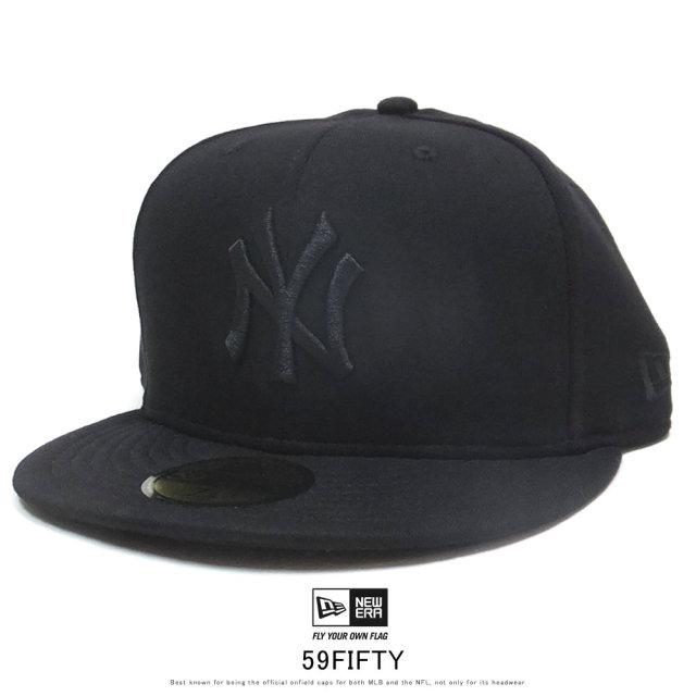 NEW ERA ニューエラ フラットバイザーキャップ 59FIFTY スウェット ニューヨーク・ヤンキース ブラック × ブラック 12109080