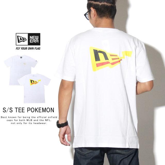 NEW ERA ニューエラ 半袖Tシャツ コットン Tシャツ ポケモン ピカチュウ フラッグロゴ ホワイト 12110833