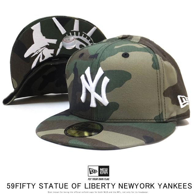 NEW ERA ニューエラ フラットバイザーキャップ 59FIFTY スタチューオブリバティ ニューヨーク・ヤンキース ウットランドカモ × スノーホワイト 12154556