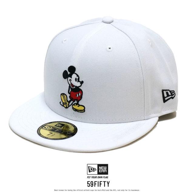 NEW ERA ニューエラ フラットバイザーキャップ 59FIFTY ディズニー ミッキーマウス オプティックホワイト 12109129