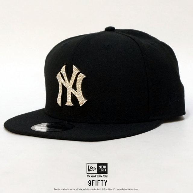 NEW ERA ニューエラ フラットバイザーキャップ 9FIFTY ラインストーン ニューヨーク・ヤンキース ブラック 12108867