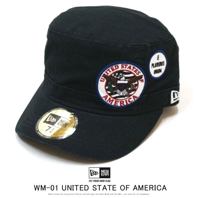 NEW ERA ニューエラ ミリタリーキャップ ワークキャップ WM-01 ワッペン UNITED STATE OF AMERICA ダックブラック 12159731
