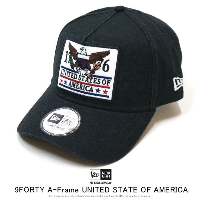 NEW ERA ニューエラ カーブバイザーキャップ 9FORTY A-Frame ワッペン UNITED STATE OF AMERICA ダックブラック 12159788