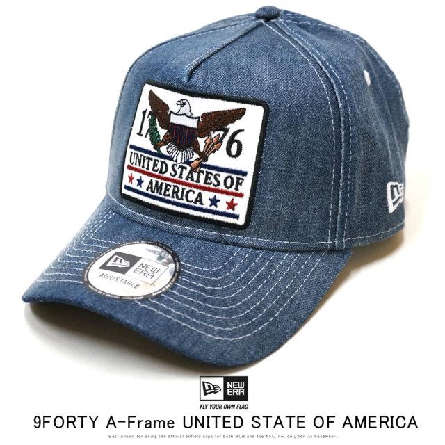 NEW ERA ニューエラ カーブバイザーキャップ 9FORTY A-Frame ワッペン UNITED STATE OF AMERICA ウォッシュドデニム 12159789