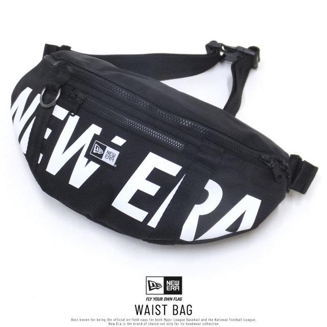 New Era (ニューエラ) ウエストバッグ WAIST BAG 2L プリントロゴ ブラック×ホワイト (11901462)