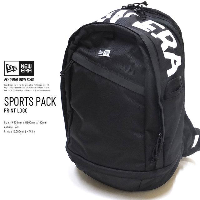 NEW ERA (ニューエラ) バックパック SPORTS PACK 31L プリントロゴ ブラック×ホワイト (11901480)