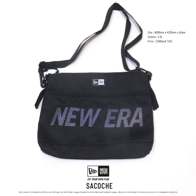 NEW ERA ニューエラ サコッシュ プリントロゴ ブラック × ホワイト 11901491