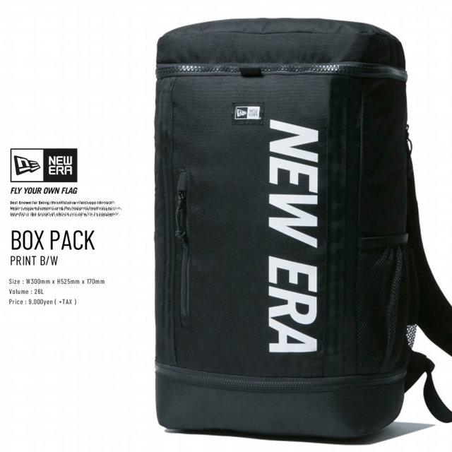 New Era (ニューエラ) バックパック BOX PACK 32L プリントロゴ ブラック×ホワイト (11901528)
