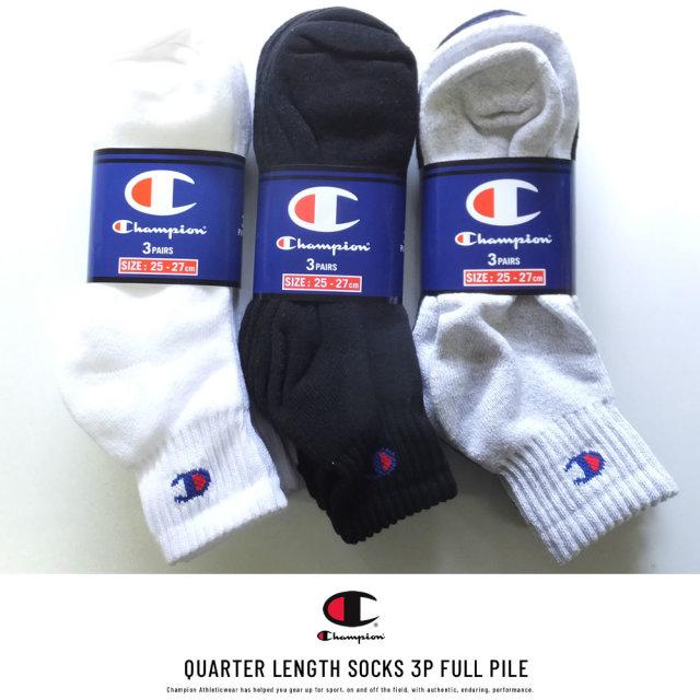Champion (チャンピオン) クルーソックス メンズ 靴下 3足組 クォーターレングスソックス 3P フルパイル (CMSCH201)
