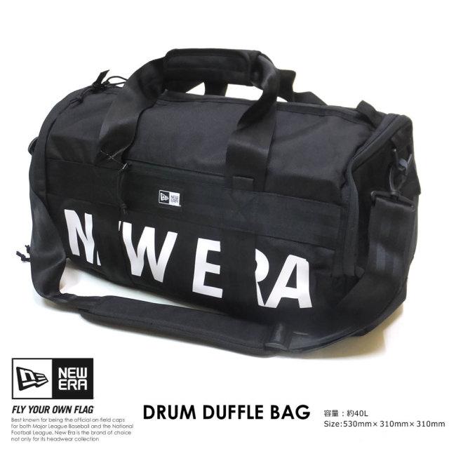 New Era (ニューエラ) ダッフルバッグ DRUM DUFFLE BAG 40L プリントロゴ ブラック×ホワイト (12108726)