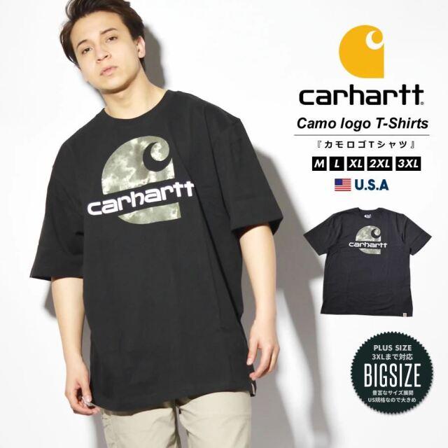 Carhartt カーハート Tシャツ メンズ 半袖 カモフラ柄ロゴ ヘビーウェイト ビッグシルエット 大きいサイズ USAモデル 104867
