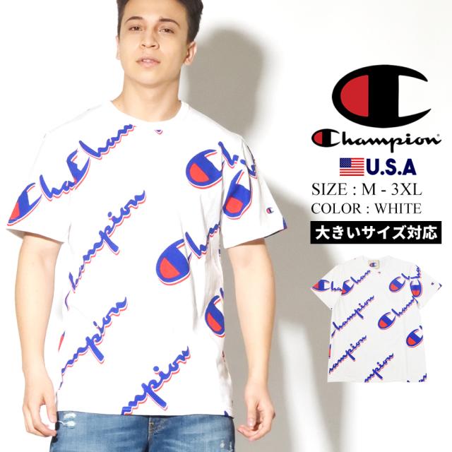 champion チャンピオン Tシャツ メンズ 総柄 ロゴ 大きいサイズ HERITAGE SHORT SLEEVE TEE-AOP T1919S