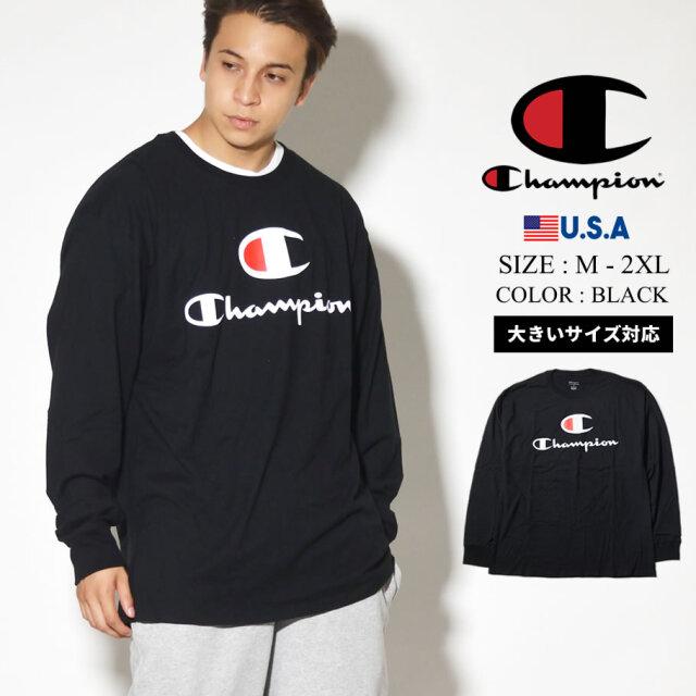Champion チャンピオン Tシャツ ロンT 長袖 メンズ 大きいサイズ スクリプトロゴ GT78H 服 通販