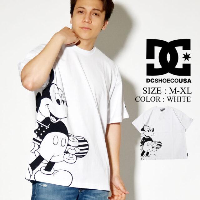 DC SHOES DISNEY Tシャツ 半袖 ミッキー プリント コラボ ディズニー ホワイト ビックシルエット 5226J042