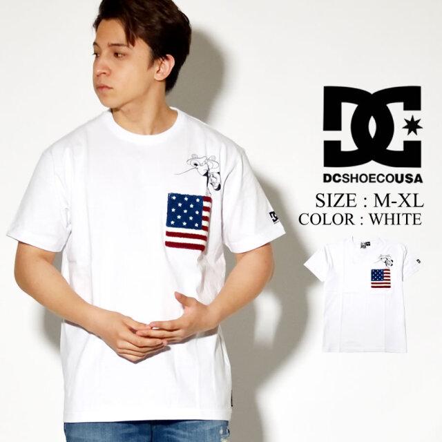 DC SHOES DISNEY 胸ポケット Tシャツ 半袖 ミッキー プリント コラボ ディズニー ホワイト 5226J043