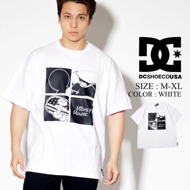 DC SHOES DISNEY Tシャツ 半袖 ミッキー プリント コラボ ディズニー モノトーンカラー ホワイト 5226J045