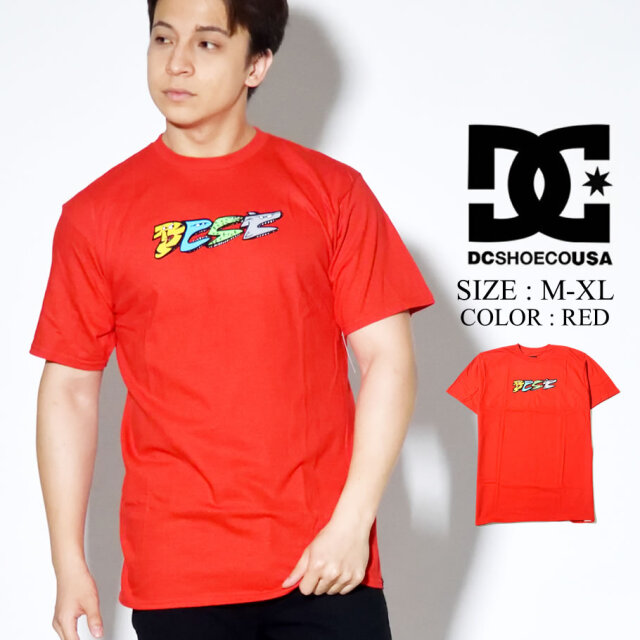 DC SHOES Tシャツ 半袖 プリント レッド ADYZT04733