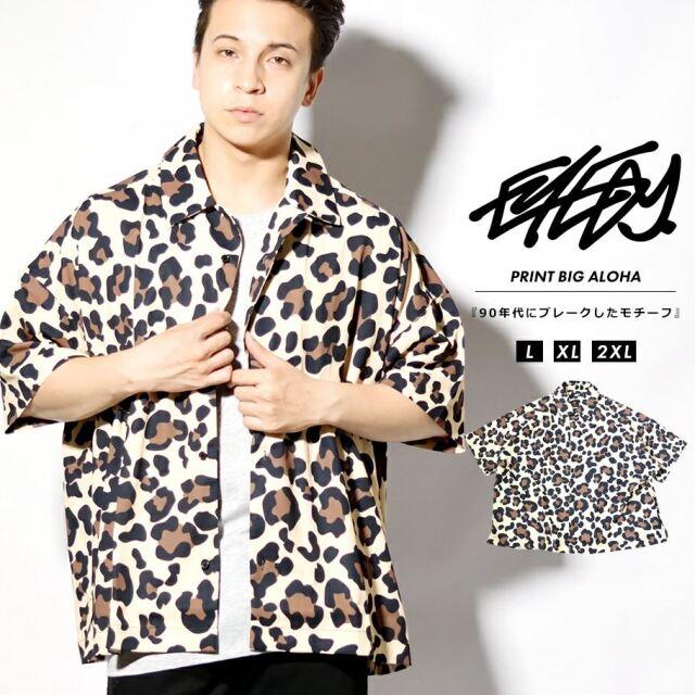 EYEDY アイディー レオパード柄シャツ メンズ 半袖 カジュアルシャツ 夏 オーバーサイズ ビッグシルエット ストリート ルード系 ブランド EYE-SH2101