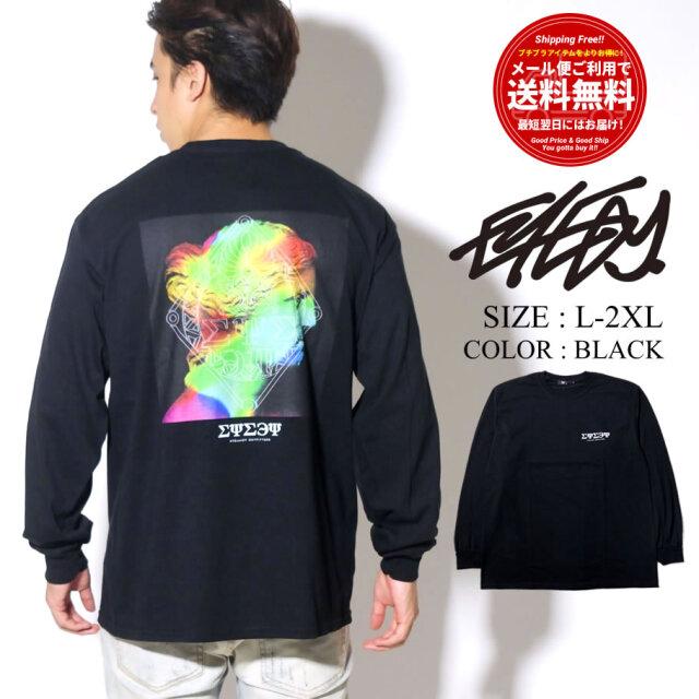 EYEDY 長袖Tシャツ ロンT メンズ バックプリント ブラック EYE-401LS