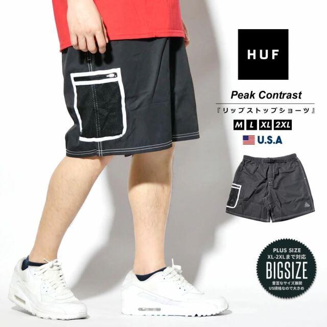 HUF ハフ ハーフパンツ ショートパンツ メンズ カーゴ USAモデル PEAK CONTRAST SHORT ブラック PT00175 2021 春夏 新作
