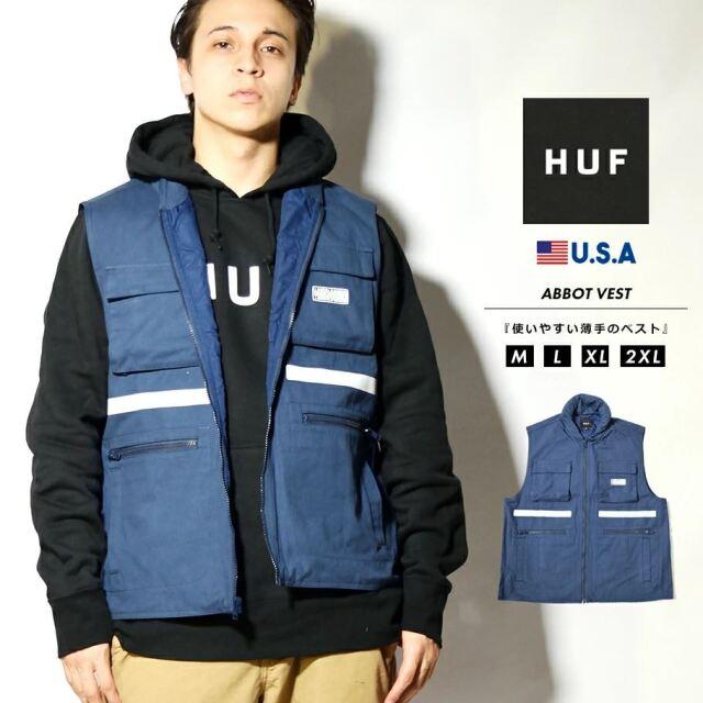 HUF ハフ フィッシングベスト メンズ アウター フード内蔵 ブランド USAモデル ABBOTT VEST JK00305