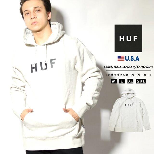 HUF ハフ パーカー メンズ スウェット プルオーバー 裏起毛 ブランド USAモデル ESSENTIALS OG LOGO P/O HOODIE PF00099 ライトグレー