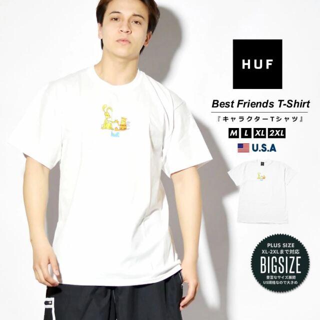 HUF ハフ Tシャツ メンズ レディース 半袖 USAモデル BEST FRIENDS S/S TEE ホワイト TS01335 2021 春夏 新作