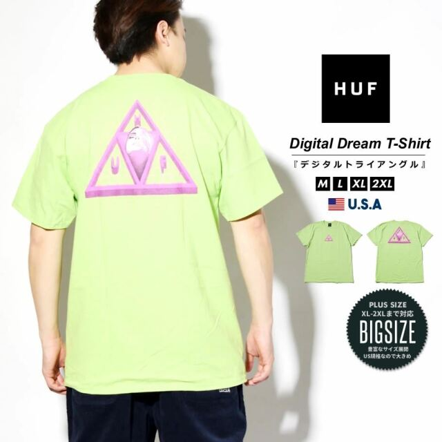 HUF ハフ Tシャツ メンズ レディース 半袖 USAモデル DIGITAL DREAM TT S/S TEE ライム TS01336 2021 春夏 新作