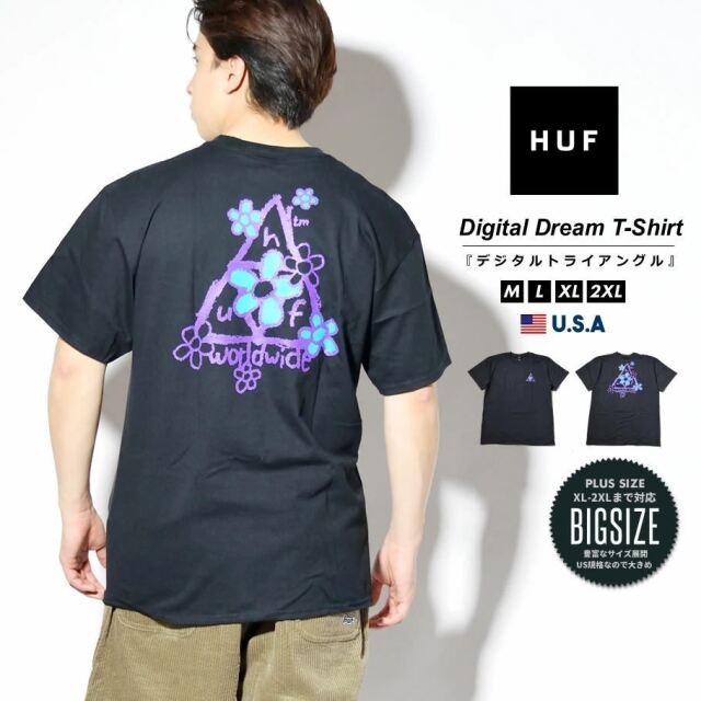 HUF ハフ Tシャツ メンズ レディース 半袖 USAモデル PUSHING DAISIES TT S/S TEE ブラック TS01339 2021 春夏 新作