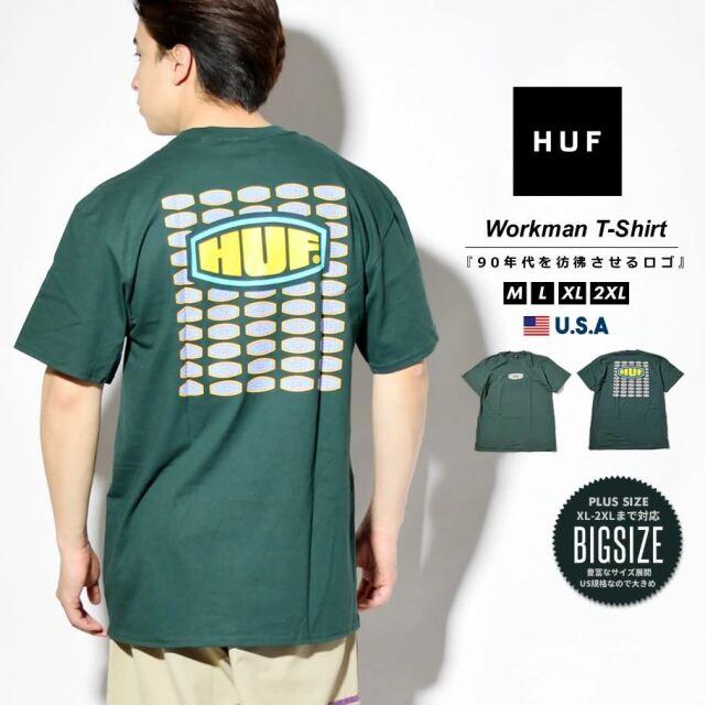HUF ハフ Tシャツ メンズ レディース 半袖 USAモデル WORKMANS S/S TEE ダークグリーン TS01338 2021 春夏 新作