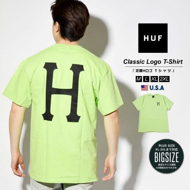 HUF ハフ Tシャツ メンズ レディース 半袖 USAモデル ESSENTIALS OG LOGO S/S TEE ライム TS01048 2021 春夏 新作