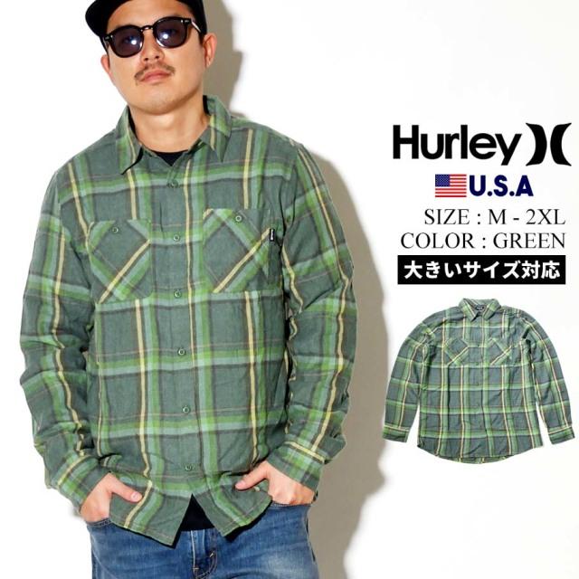 Hurley ハーレー チェック柄 長袖シャツ メンズ CREEPER WASHED LONG SLEEVE CJ5212 グリーン