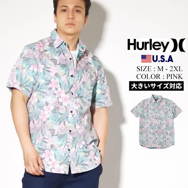 HURLEY ハーレー アロハシャツ メンズ サーフ系 ストリート ファッション ピンク SPRAY GUN SHORT SLEEVE CN5281