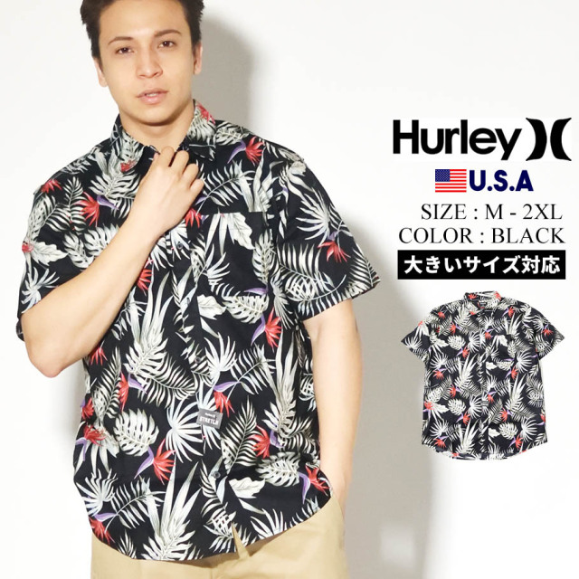 HURLEY ハーレー アロハシャツ メンズ サーフ系 ストリート ファッション ブラック EXOTIC STRETCH SHORT SLEEVE CN5283