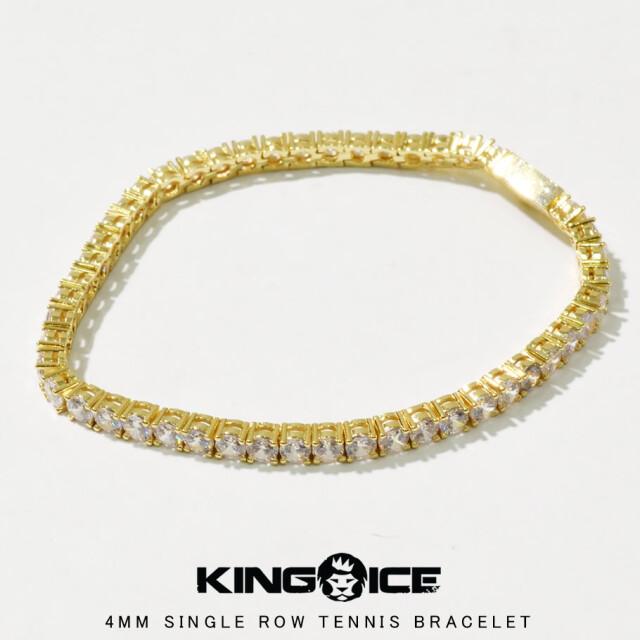 KING ICE キングアイス 14K GOLD ゴールド 金 4mm ブレスレット 腕輪 ブリンブリン hiphop ヒップホップ ジュエリー BRX14005 kiat093