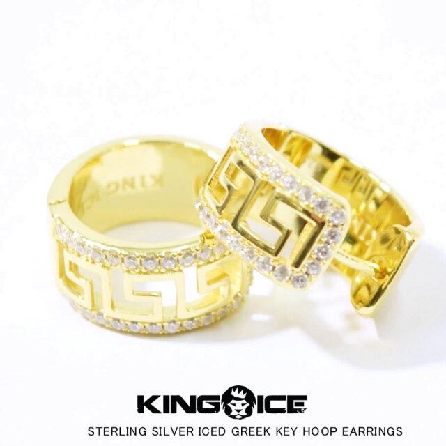 KING ICE キングアイス ピアス メンズ 2個セット 14金メッキ 14Kゴールド スターリングシルバーアイスドグリークキーフープイヤリング ERX11718