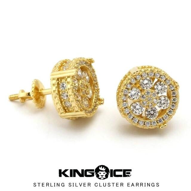 KING ICE キングアイス ピアス メンズ 2個セット 14金メッキ 14Kゴールド スターリングシルバークラスターイヤリング ERX10594