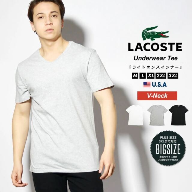ラコステ LACOSTE Tシャツ メンズ レディース 半袖 Vネック 薄手 USAモデル プレーンTシャツ スリムフィット TH3374 21SS 春 新作