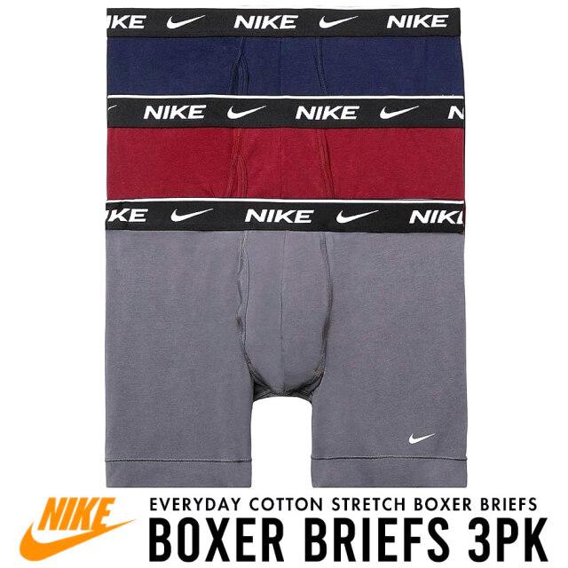 NIKE ナイキ ボクサーパンツ メンズ アンダーウェア 下着 3枚組 白\黒/灰 USAモデル Everyday Cotton Stretch Boxer Briefs 3-Pack KE1107