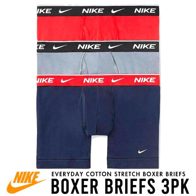 NIKE ナイキ ボクサーパンツ メンズ アンダーウェア 下着 3枚組 灰/紺/赤 USAモデル Everyday Cotton Stretch Boxer Briefs 3-Pack KE1107