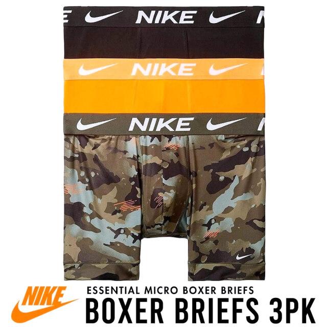 NIKE ナイキ ボクサーパンツ メンズ アンダーウェア 下着 3枚組 黒/橙/迷彩 USAモデル Everyday Cotton Stretch Boxer Briefs 3-Pack KE1107