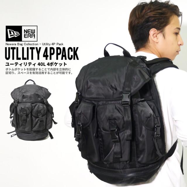 NEW ERA ニューエラ バックパック ユーティリティ 40L 4ポケットパック ブラックサテン 鞄 12541065