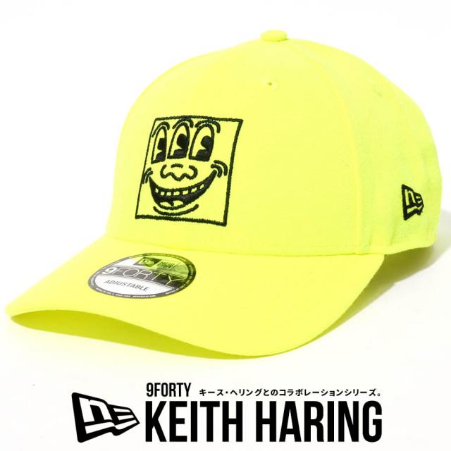 NEW ERA ニューエラ キャップ 9FORTY Keith Haring キース・へリング フェイス アップライトイエロー 帽子 12551299