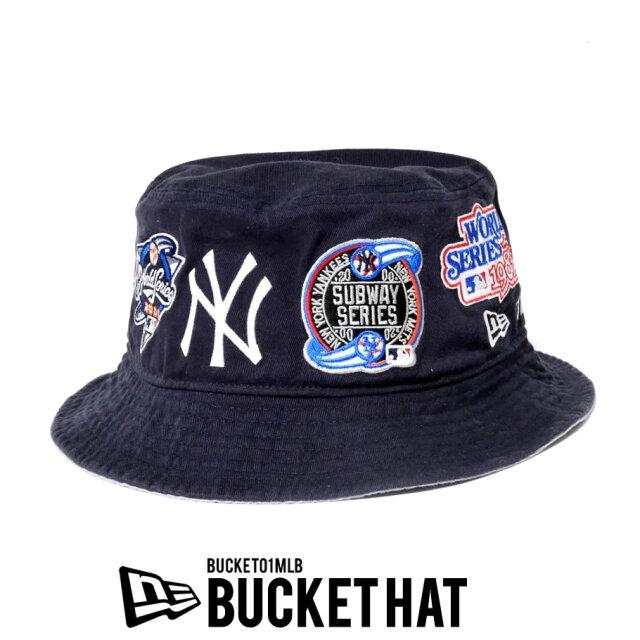 NEW ERA ニューエラ バケット01 ニューヨーク・ヤンキース MLB ロゴ オールオーバー ネイビー 12540506