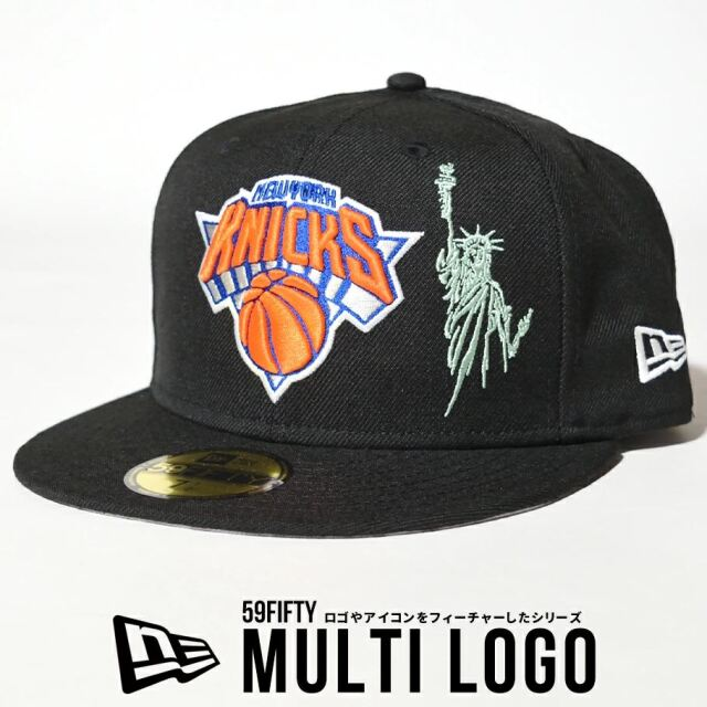 ニューエラ キャップ 帽子 メンズ NEW ERA 59FIFTY ニューヨーク・ニックス マルチロゴ ブラック 12653882