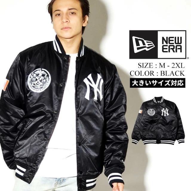 NEW ERA ニューエラ ナイロン ヴァーシティジャケット ニューヨーク・ヤンキース 1920-2020 ブラック 12542663