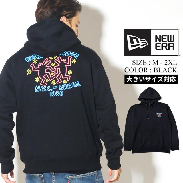 NEW ERA ニューエラ 裏起毛 スウェット プルオーバー フーディー Keith Haring キース・へリング パラダイス ブラック 12550923