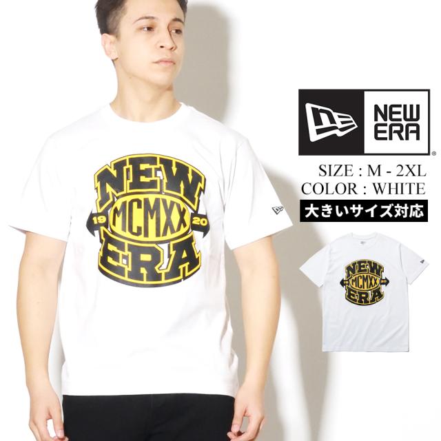 NEW ERA ニューエラ 半袖 コットン Tシャツ ニューエラ MCMXX ロゴ ホワイト × ブラック/イエロー レギュラーフィット 12325164