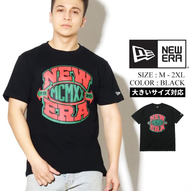 NEW ERA ニューエラ 半袖 コットン Tシャツ ニューエラ MCMXX ロゴ ブラック × レッド/ブラック/グリーン レギュラーフィット 12325166